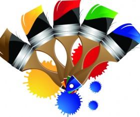 Colorful Paint elements art vector 03