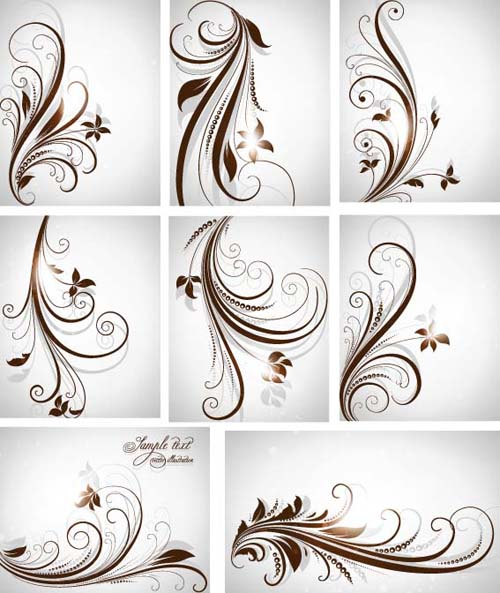 Different Patterns Of Floral Design Vector 01