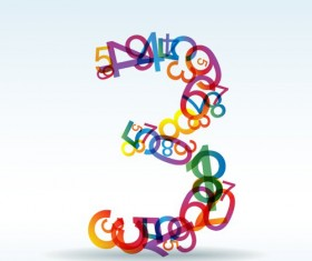 Set of Rainbow numbers elements vector 10