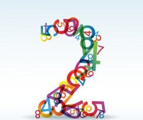 Set of Rainbow numbers elements vector 02