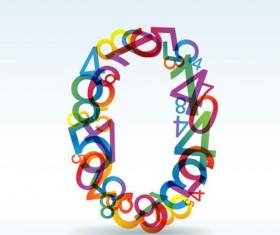Set of Rainbow numbers elements vector 03