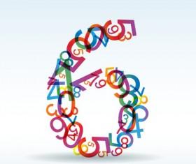 Set of Rainbow numbers elements vector 04