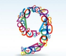 Set of Rainbow numbers elements vector 05