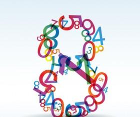 Set of Rainbow numbers elements vector 06