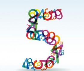 Set of Rainbow numbers elements vector 07