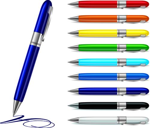 Different Realistic Pen design vector set 02