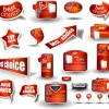 Set of Red style Website design Elements vector 01