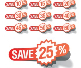Red tags Stickers discount vector set 01