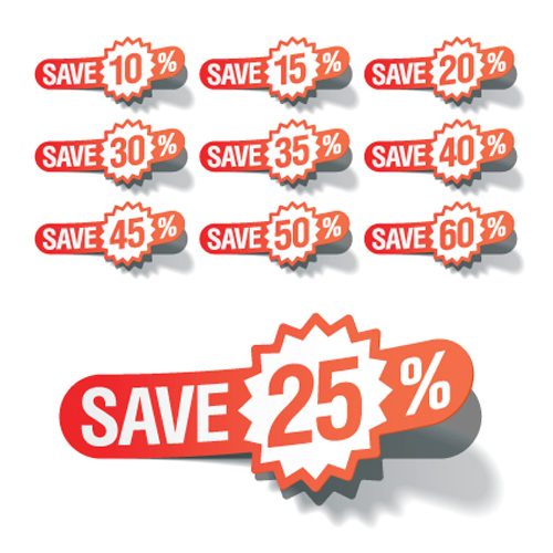 Red tags stickers discount vector set 01 – Over millions ...