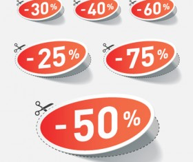 Red tags Stickers discount vector set 02