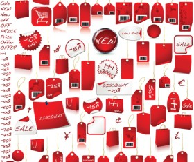 Red tags Stickers discount vector set 03