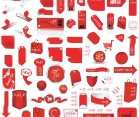 Red tags Stickers discount vector set 05