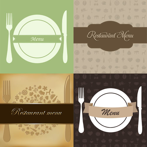 Restaurant Menus Design Cover Template Vector 04 - Vector Cover