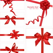 Link toGift card with red ribbons design vector 01