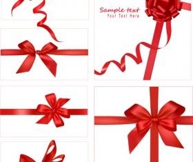 Gift card with red ribbons design vector 01