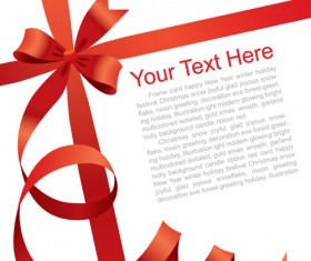 Gift card with red ribbons design vector 02