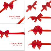 Link toGift card with red ribbons design vector 03