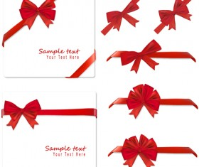 Gift card with red ribbons design vector 03