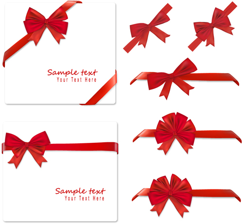 Gift Card With Red Ribbons Design Vector   Vector Card Free Download
