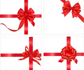Gift card with red ribbons design vector 04