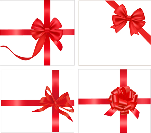 ... card with red ribbons design vector 04 - Vector Card free download