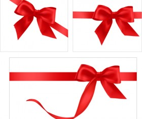 Gift card with red ribbons design vector 05