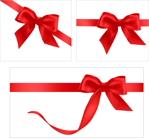 Gift Card With Red Ribbons Design Vector 05 Vector Card