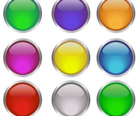 Round glass button web design vector 04