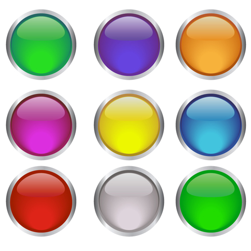 Round glass button web design vector 04 vector web design free