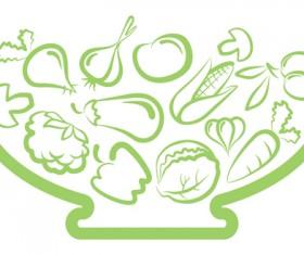 Elements of Salad mix vector graphic 04