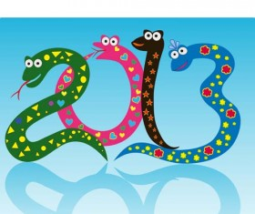 Set of 2013 year of snake design vector 14