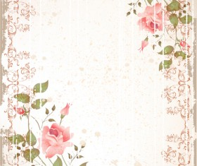 Set of Flowers and backgrounds design elements vector 01