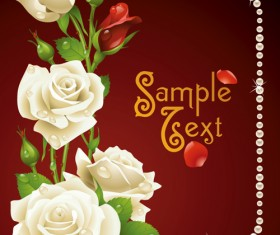 Set of Flowers and backgrounds design elements vector 02