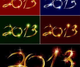 Shiny 2013 New year design elements vector 02