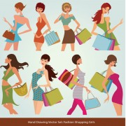 Link toHand drawing stylish shopping elements vector set 04