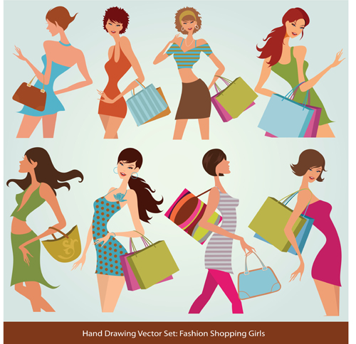 Hand drawing Stylish shopping elements vector set 04