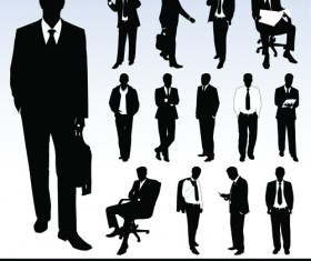 Silhouettes of businesspeople design vector graphics 01