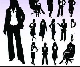 Silhouettes of businesspeople design vector graphics 02