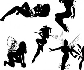Different postures girls vector Silhouettes 02