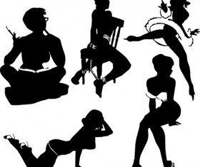 Different postures girls vector Silhouettes 03
