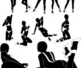 Different postures girls vector Silhouettes 04