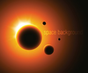 Space Object backgrounds vector set 02