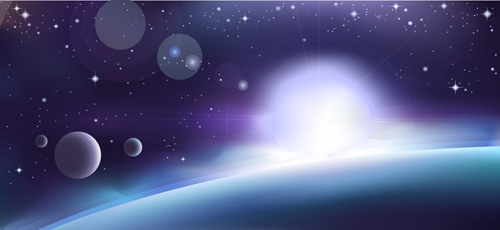 Space Object backgrounds vector set 03