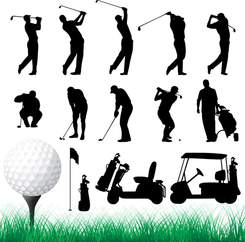 Different of Sport silhouette vector graphic set 01