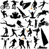 Different of Sport silhouette vector graphic set 03