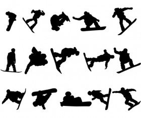 Different of Sport silhouette vector graphic set 04