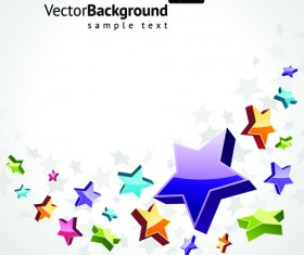 Colorful Stars with backgrounds vector set 02
