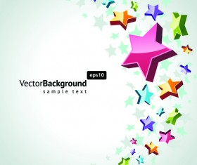 Colorful Stars with backgrounds vector set 04