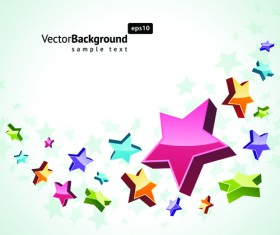 Colorful Stars with backgrounds vector set 05