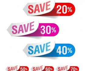 Color discount Stickers design vector graphics 05